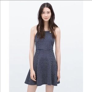Zara | Blue Striped Rope Halter Swing Dress